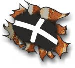 Ripped Torn Metal Rusty Design With Kernow Cornwall County Flag External Vinyl Car Sticker 105x130mm